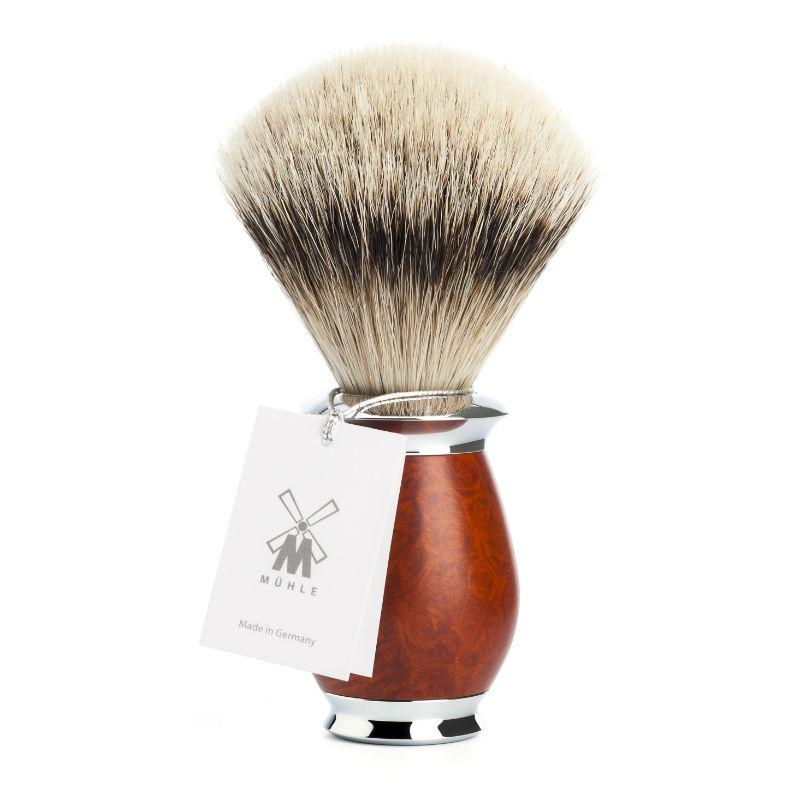 The MÜHLE PURIST Briarwood Silvertip Badger Shaving Brush