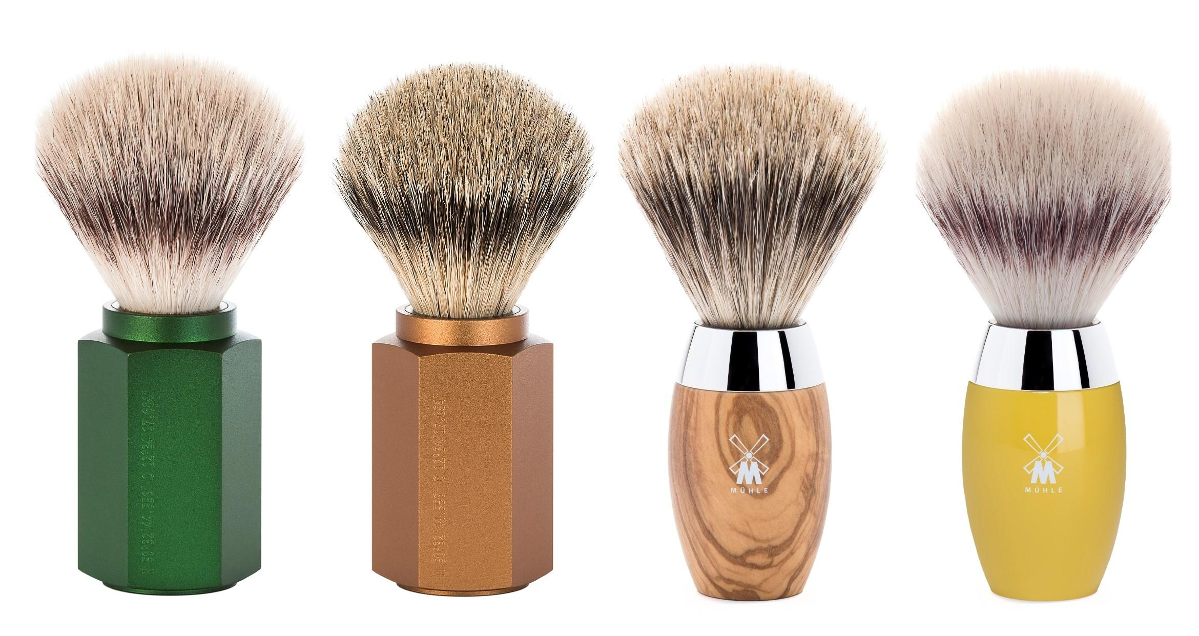 (from left to right): The Forest HEXAGON Silvertip Fibre Shaving Brush (31MHXGFOREST), The Bronze HEXAGON Silvertip Badger Shaving Brush (091MHXGBRONZE), The Olive Wood KOSMO Fine Badger Shaving Brush (281H870), The Citrine KOSMO Silvertip Fibre Shaving Brush (31K874),