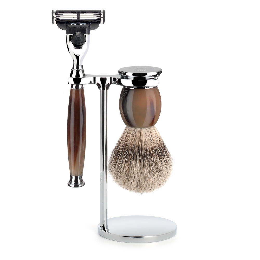 MUHLE SOPHIST Silvertip Badger Brush and Mach3 Shaving Set in Genuine Horn with Stand - S93B42M3