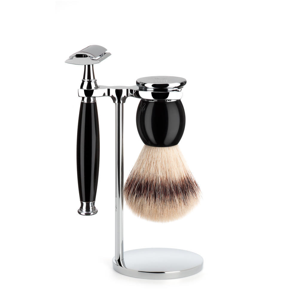 MUHLE SOPHIST Silvertip Fibre Brush and Safety Razor Shaving Set in Black with Stand - S33K44SR