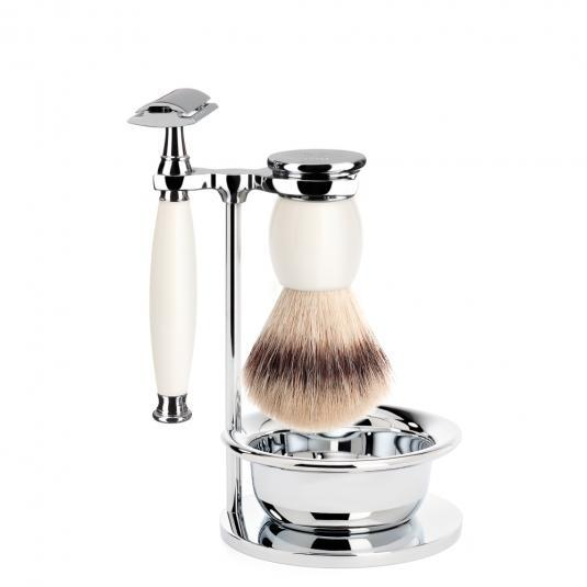 MUHLE SOPHIST Silvertip Fibre Brush and Safety Razor Shaving Set in Porcelain with Bowl and Stand - S33P84SSR