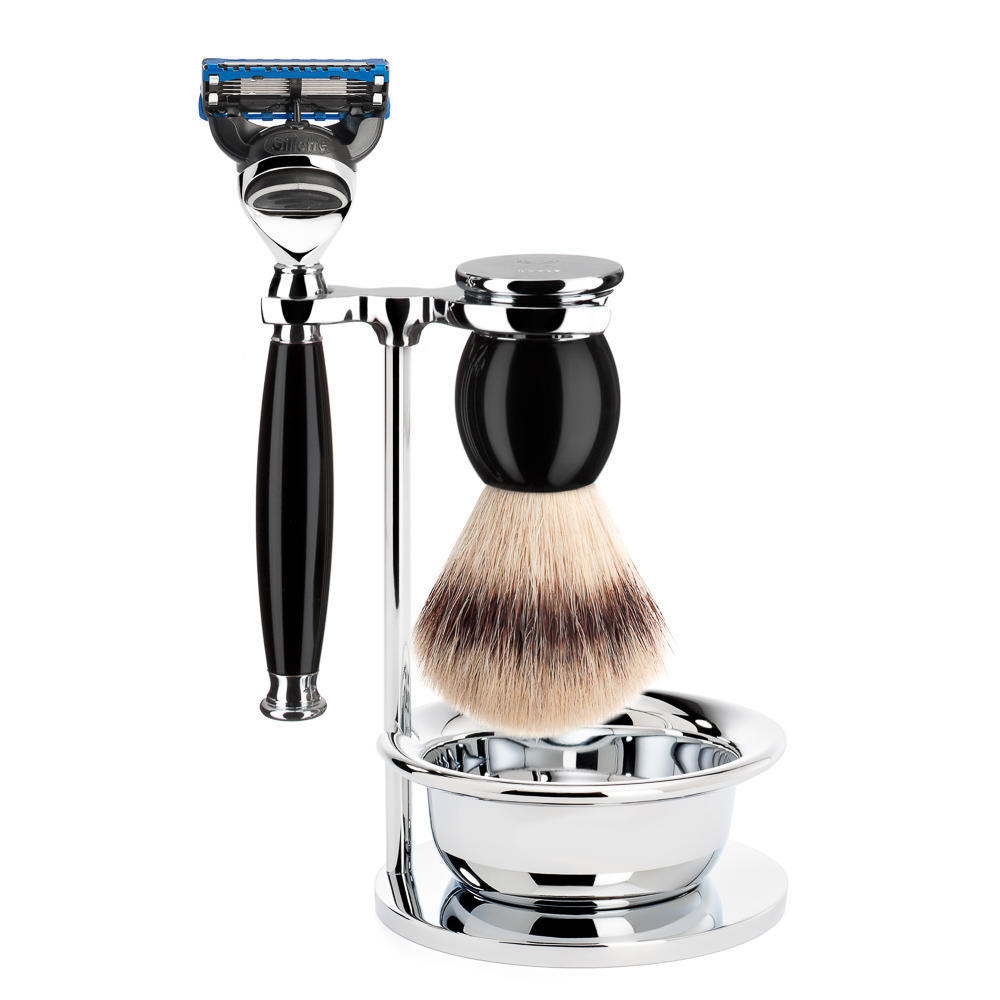 MUHLE SOPHIST Silvertip Fibre Brush and Fusion Razor Shaving Set in Black with Bowl and Stand - S33K44SF