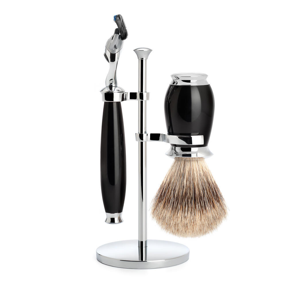 MUHLE PURIST Fine Badger Shaving Brush and Fusion Razor Shaving Set in Black with Stand - S281K56F