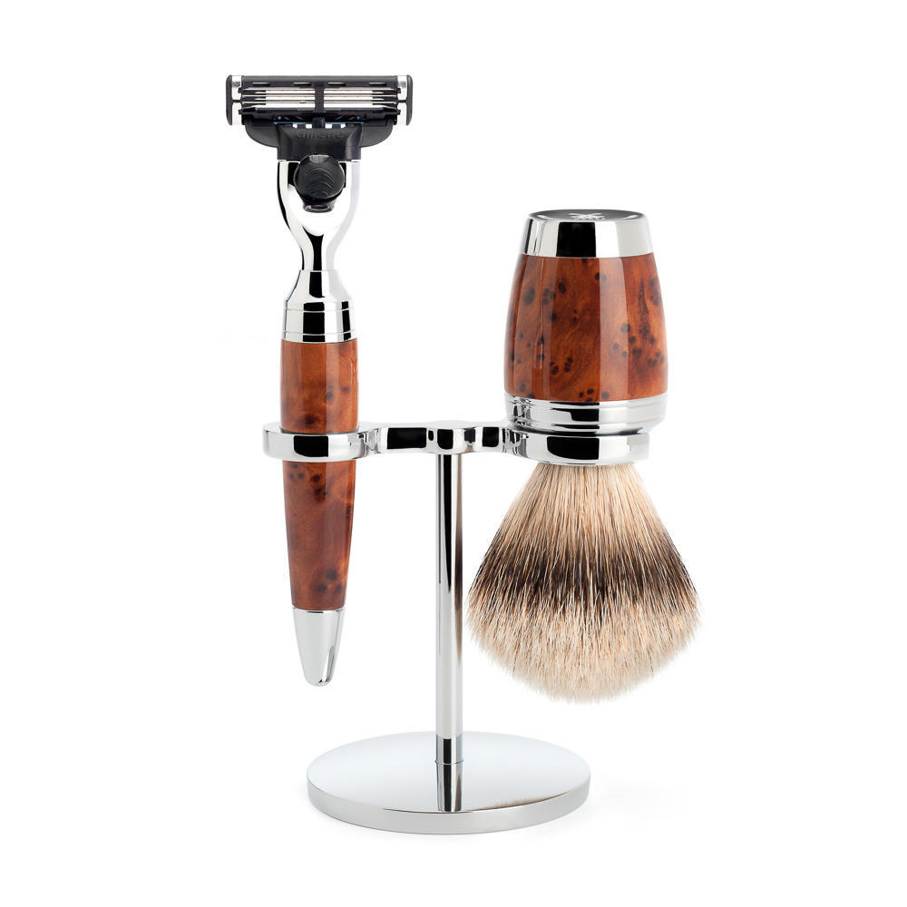 MÜHLE STYLO 3-piece shaving set in thuja wood Incl. silvertip badger shaving brush and Mach3 razor
