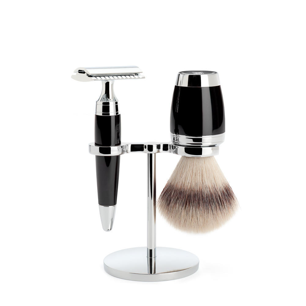 MÜHLE STYLO 3-piece shaving set in black Incl. silvertip fibre shaving brush and safety razor