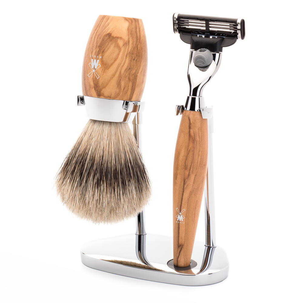 MÜHLE KOSMO 3-piece shaving set in olive wood Incl. silvertip badger shaving brush and Mach3 razor