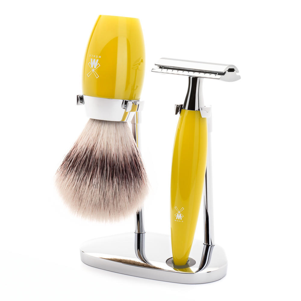 MÜHLE KOSMO 3-piece shaving set in citrine Incl. silvertip fibre shaving brush and safety razor