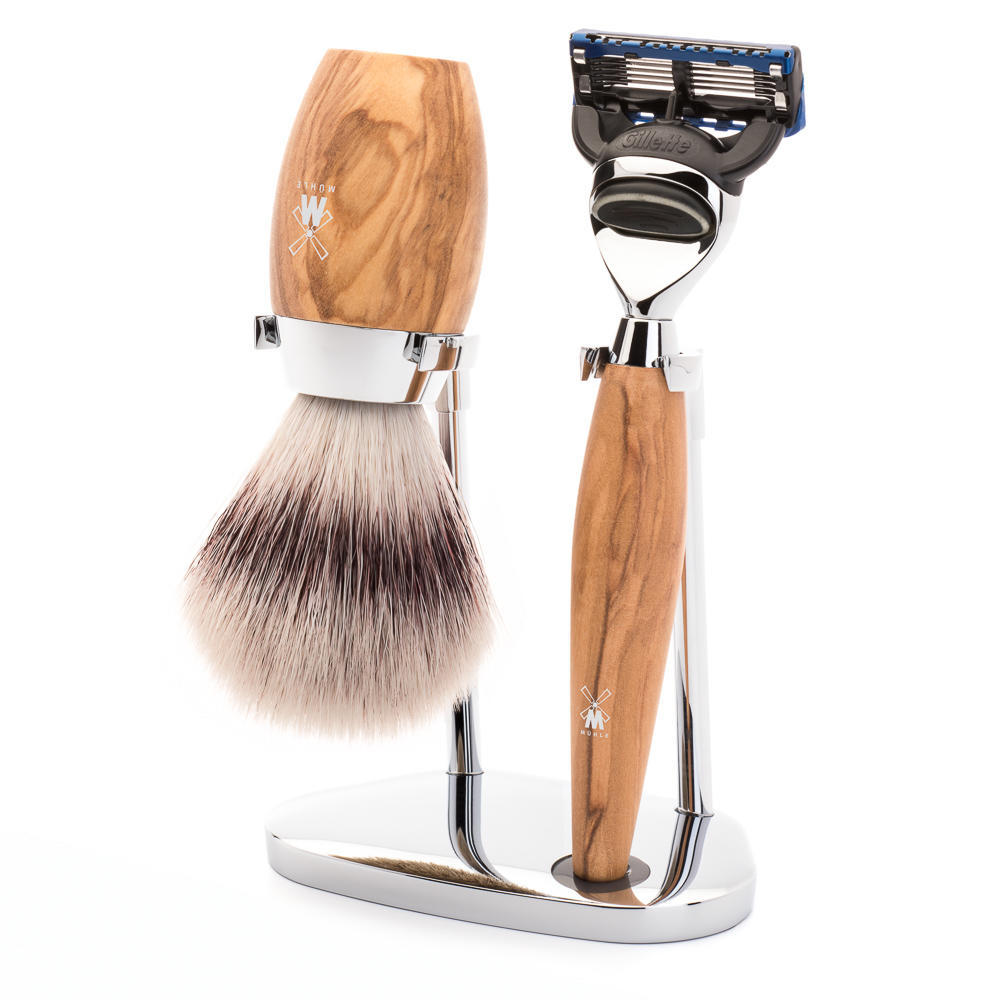 MÜHLE KOSMO 3-piece shaving set in olive wood Incl. silvertip fibre shaving brush and Fusion razor