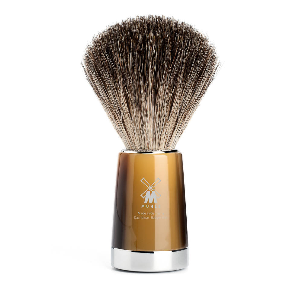 MUHLE LISCIO Brown Horn Resin Pure Badger Shaving Brush - 81M142