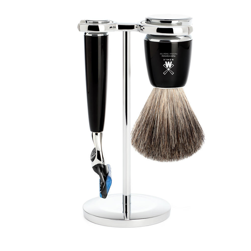 MUHLE RYTMO Black 3-piece Pure Badger Brush and Fusion Razor Shaving Set - S81M226F