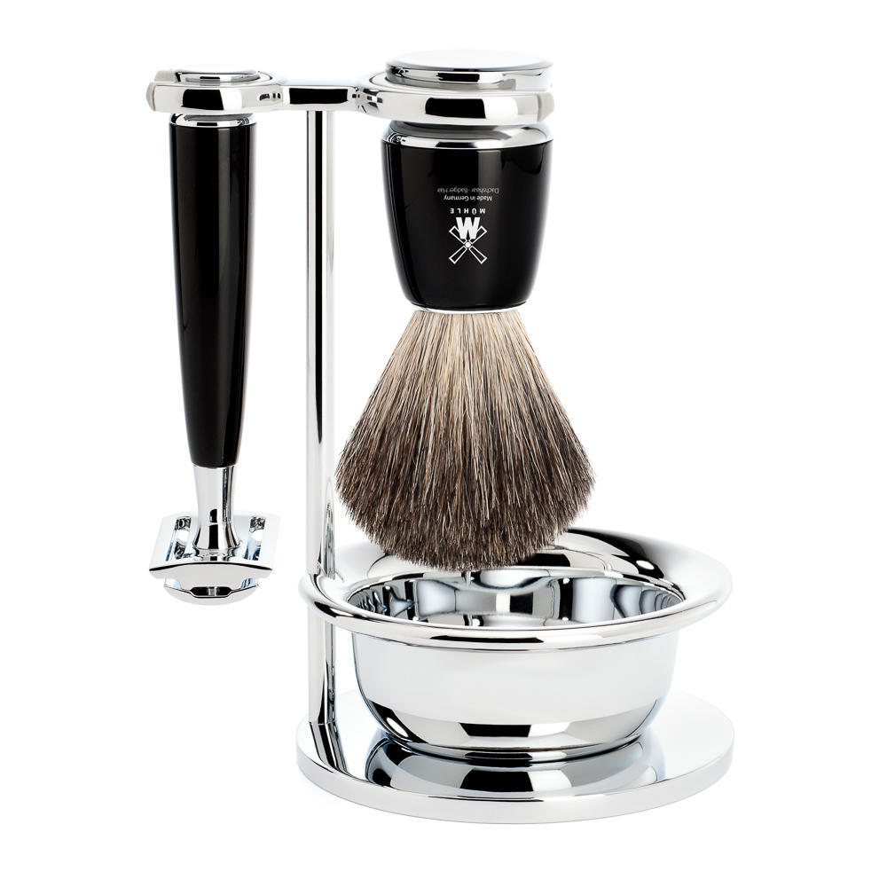 MUHLE RYTMO Black 4-piece Pure Badger Brush and Safety Razor Shaving Set - S81M226SSR