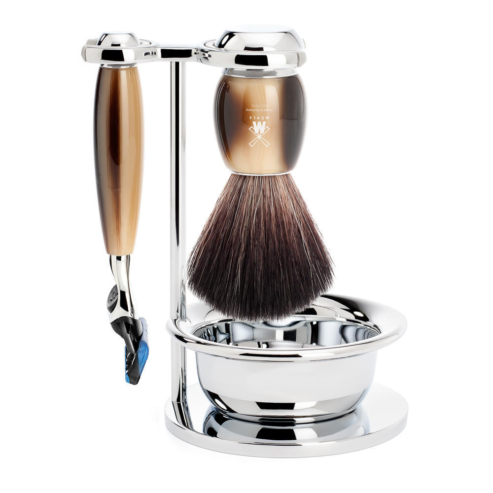 MUHLE VIVO Brown Horn Resin 4-piece Black Fibre Brush and Fusion Razor Shaving Set - S21M332SF