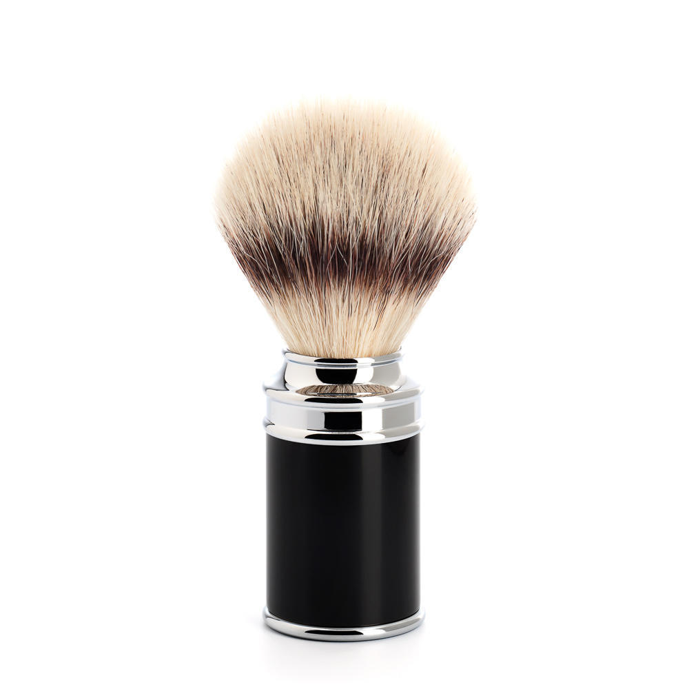 MUHLE TRADITIONAL Black and Chrome Silvertip Fibre Shaving Brush - 31M106
