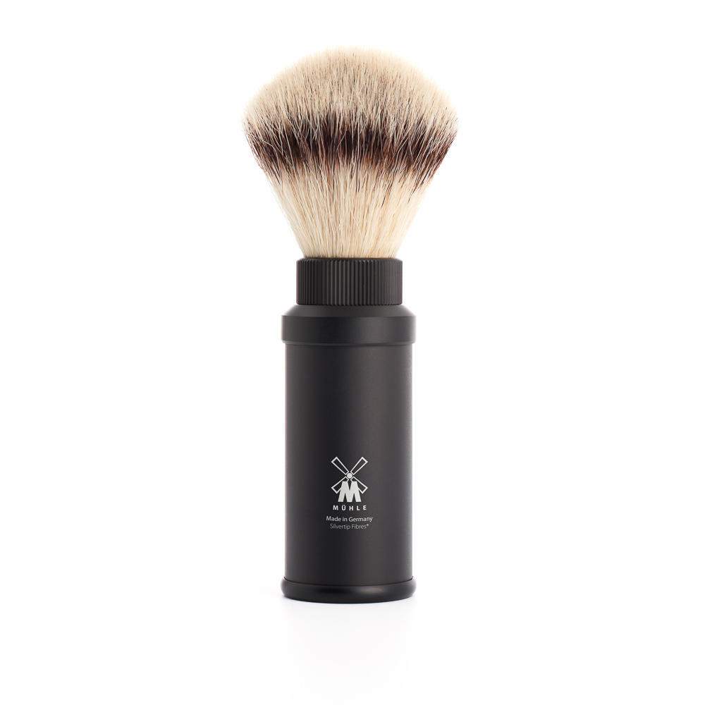 MUHLE TRAVEL Black Anodized Aluminum Silvertip Fibre Travel Shaving Brush - 31M536