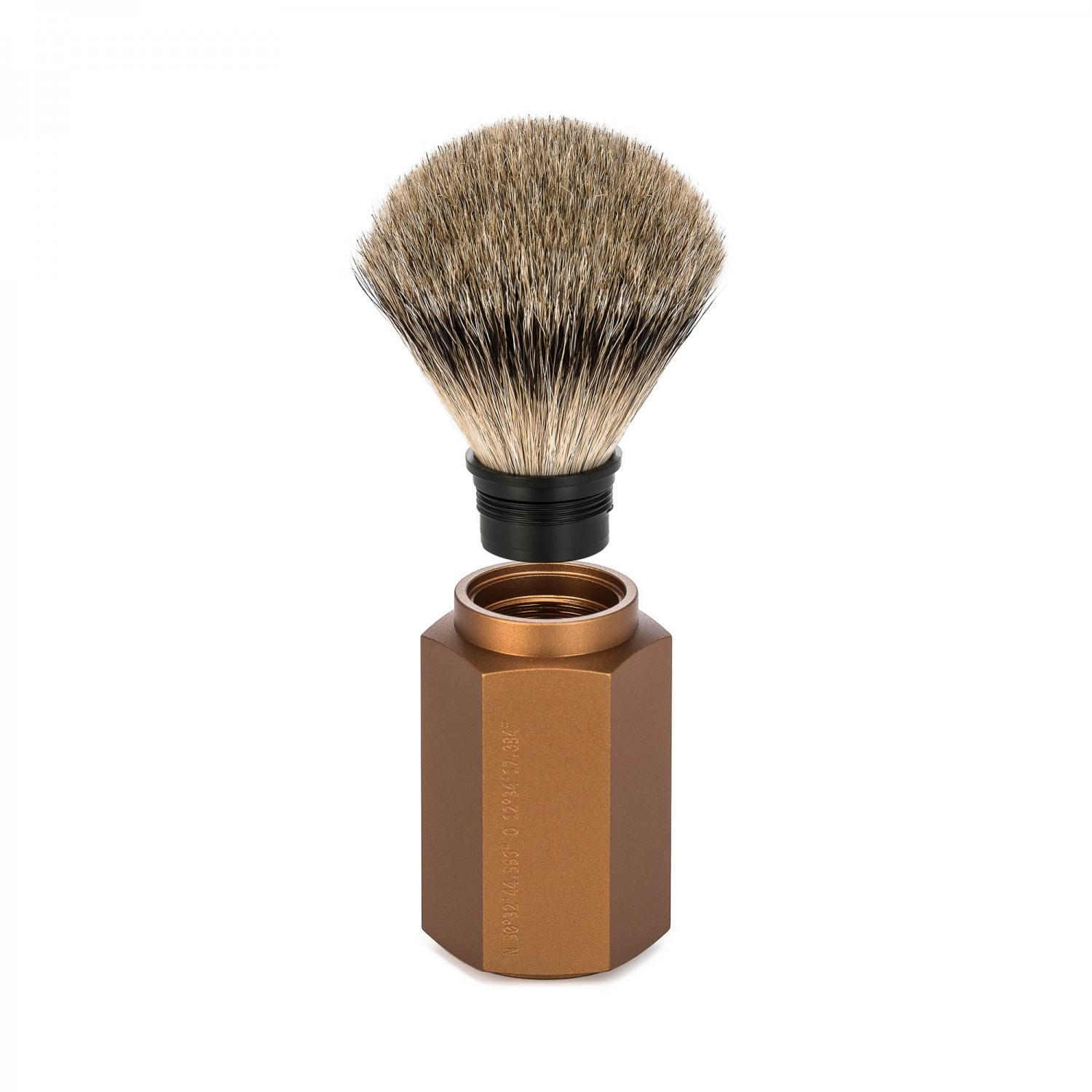MUHLE HEXAGON Bronze Silvertip Badger Shaving Brush
