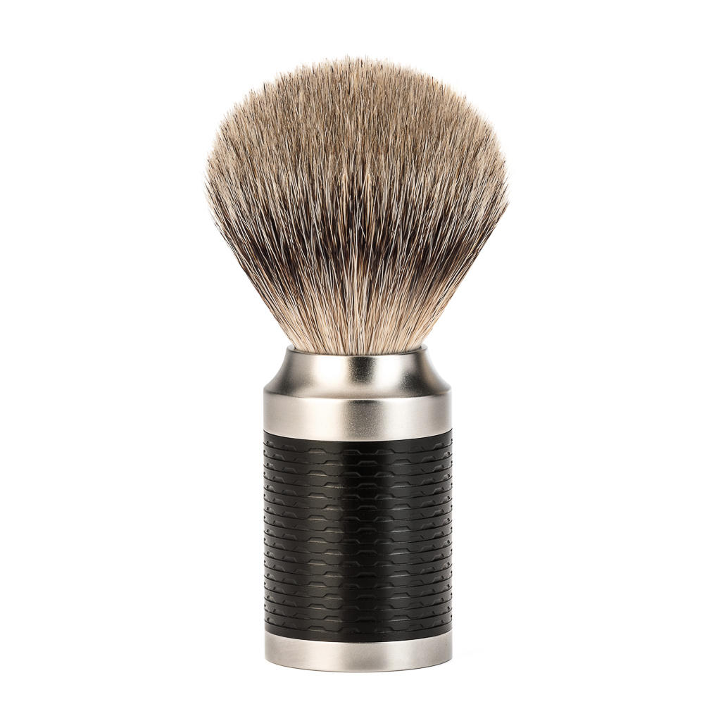 MUHLE ROCCA Black Stainless Steel Handle Silvertip Badger Shaving Brush - 091M96