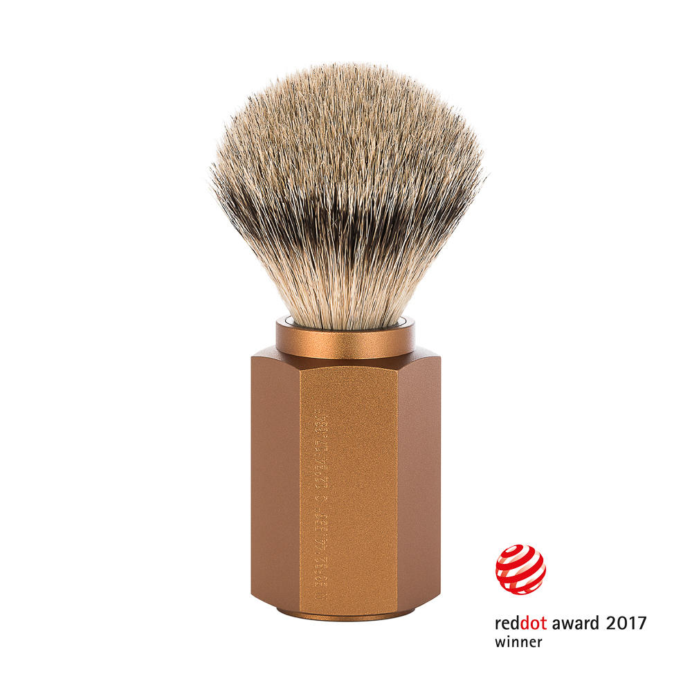 M__HLE HEXAGON Silvertip Badger Shaving Brush, Bronze Aluminum Handle
