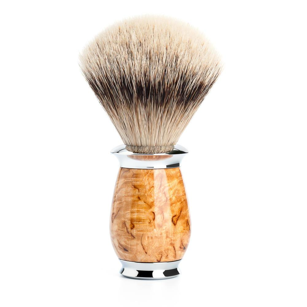MUHLE PURIST Silvertip Badger Shaving Brush in Karelian Masur Birch