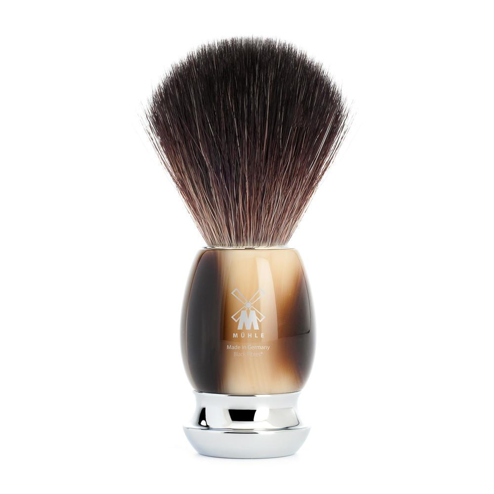 MUHLE VIVO Brown Horn Black Fibre Shaving Brush