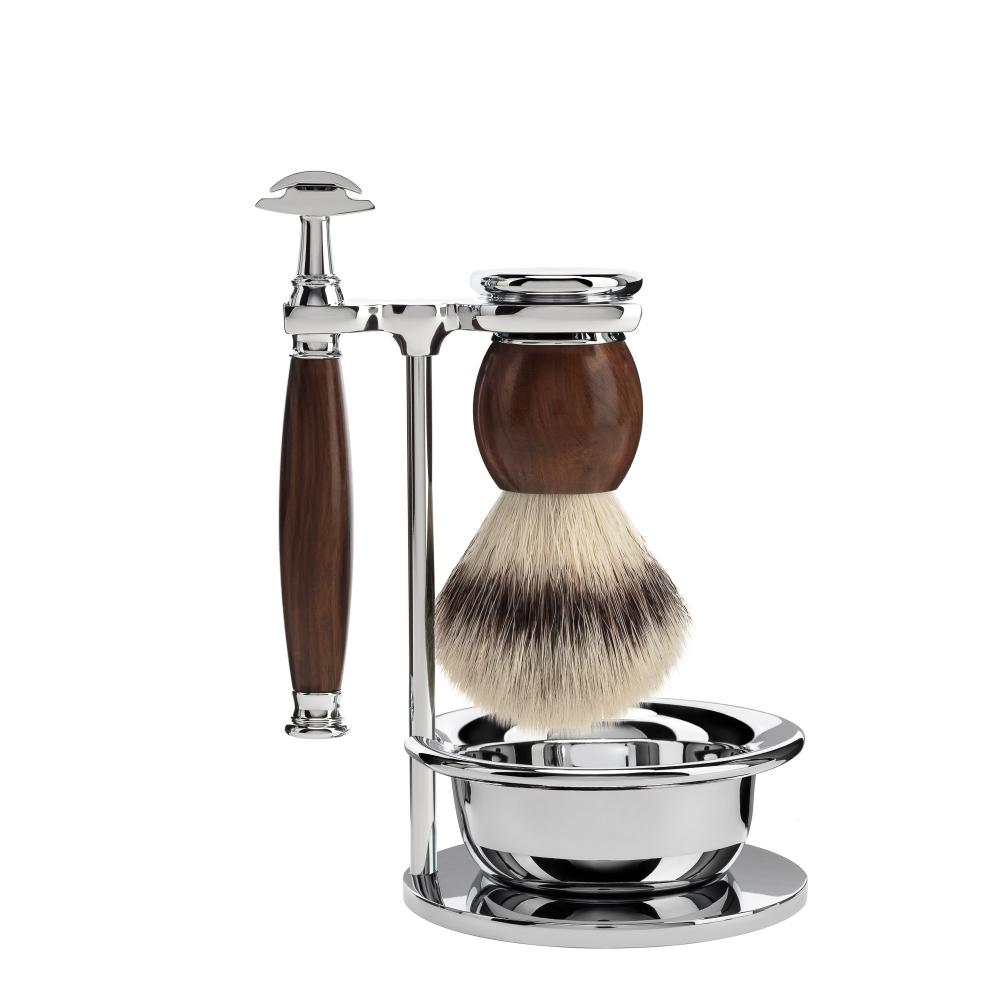 MÜHLE SOPHIST Ironwood 4-piece Silvertip Fibre / Safety Razor Shaving Set