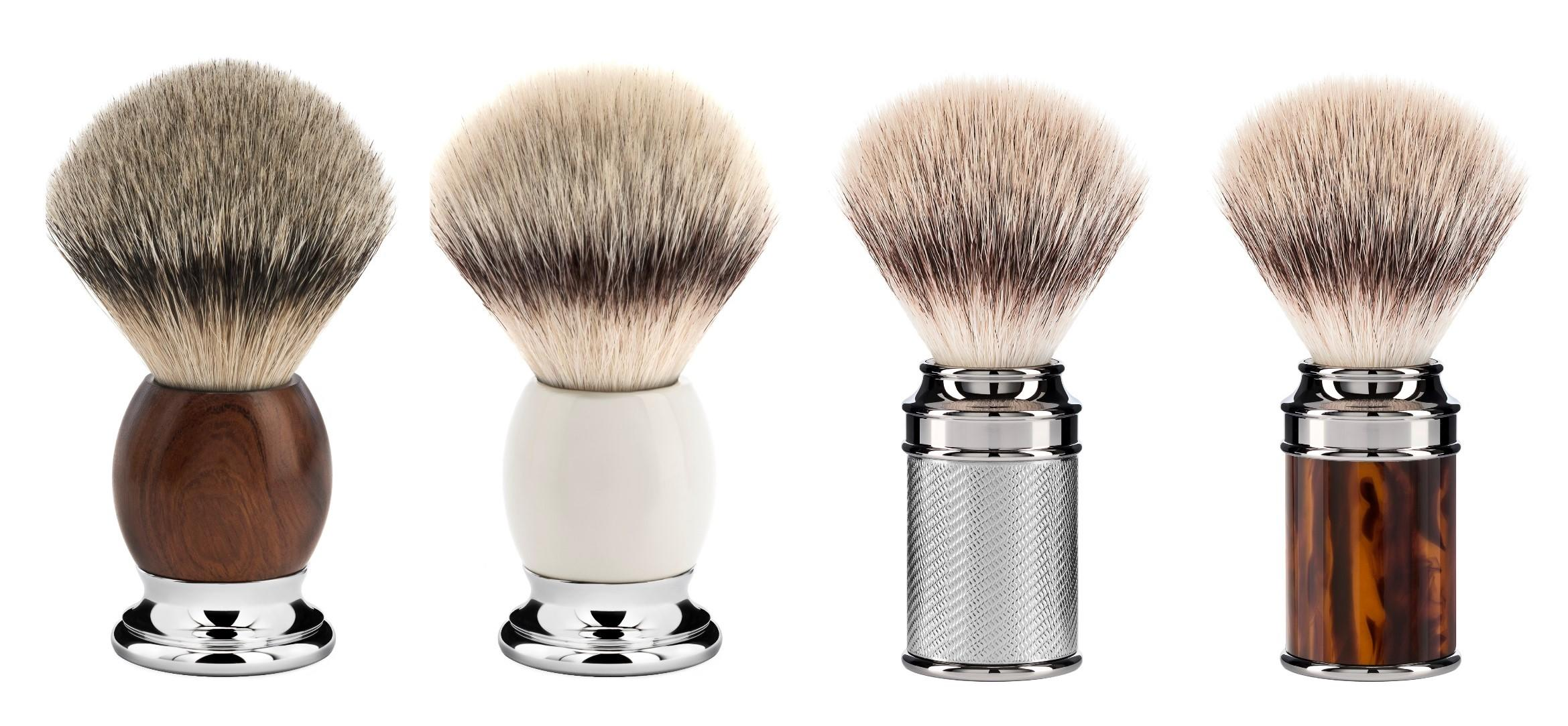 (from left to right): The Ironwood SOPHIST Silvertip Badger Shaving Brush (93H47), The Porcelain SOPHIST Silvertip Fibre Shaving Brush (33P84), The Chrome TRADITIONAL Silvertip Fibre Shaving Brush (31M89), The Faux Tortoiseshell TRADITIONAL Silvertip Fibre Shaving Brush (31M108)