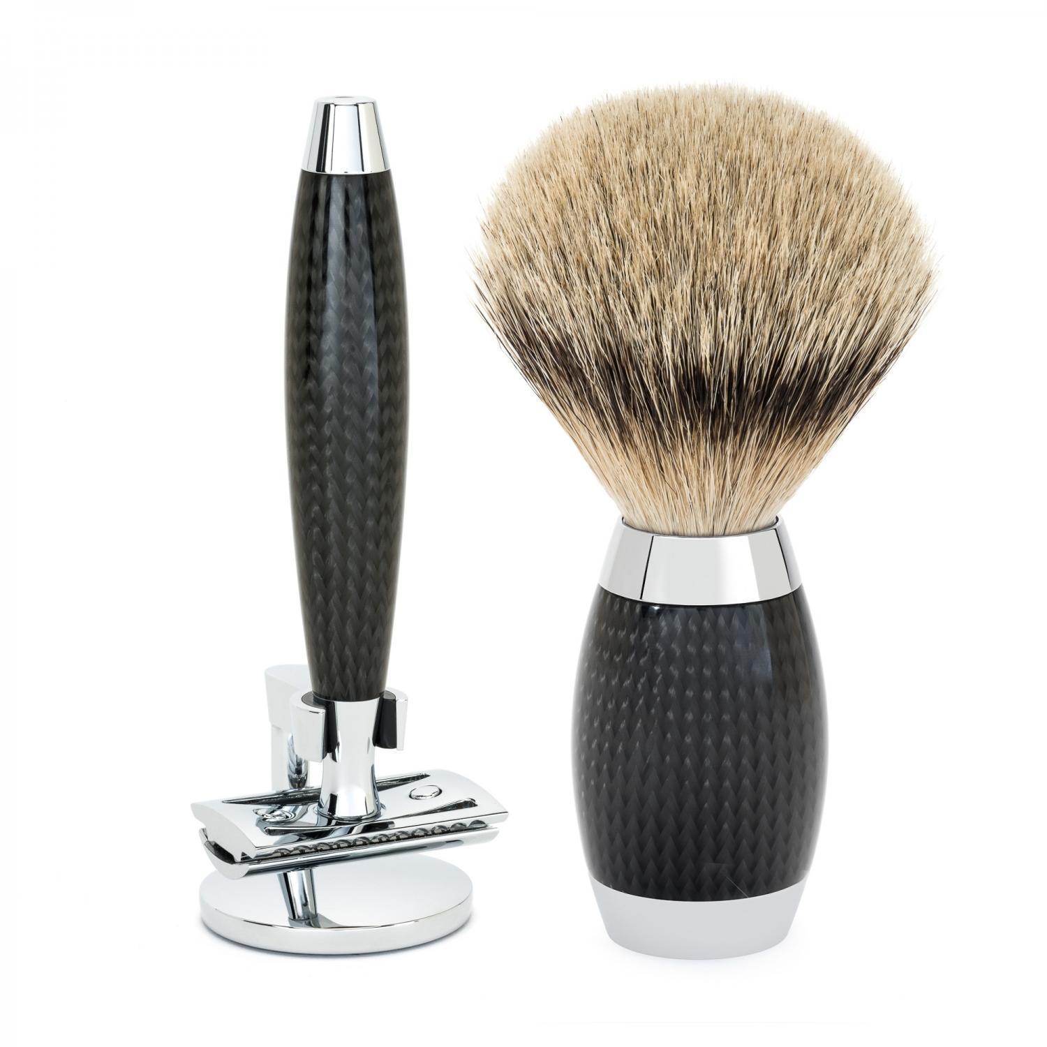 MUHLE EDITION Carbon Handle Safety Razor and Shaving Brush Set