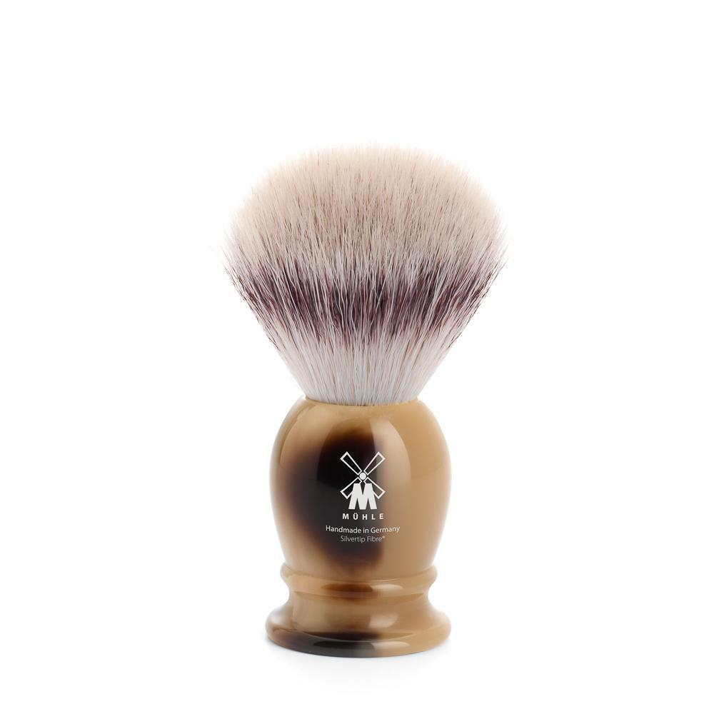 The CLASSIC Faux Horn, Silvertip Fibre shaving brush by MÜHLE