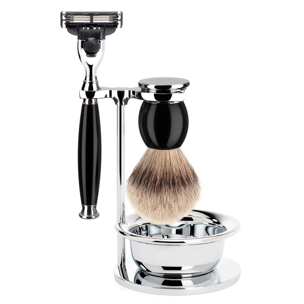 MUHLE SOPHIST Silvertip Badger Brush and Mach3 Shaving Set in Black with Bowl - S93K44SM3