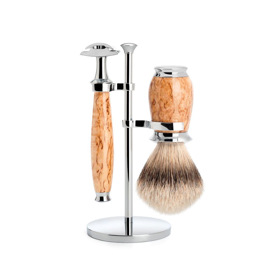 MUHLE PURIST Karelian Masur Birch Silvertip Badger Brush and Safety Razor Set with Stand - S091H55SR