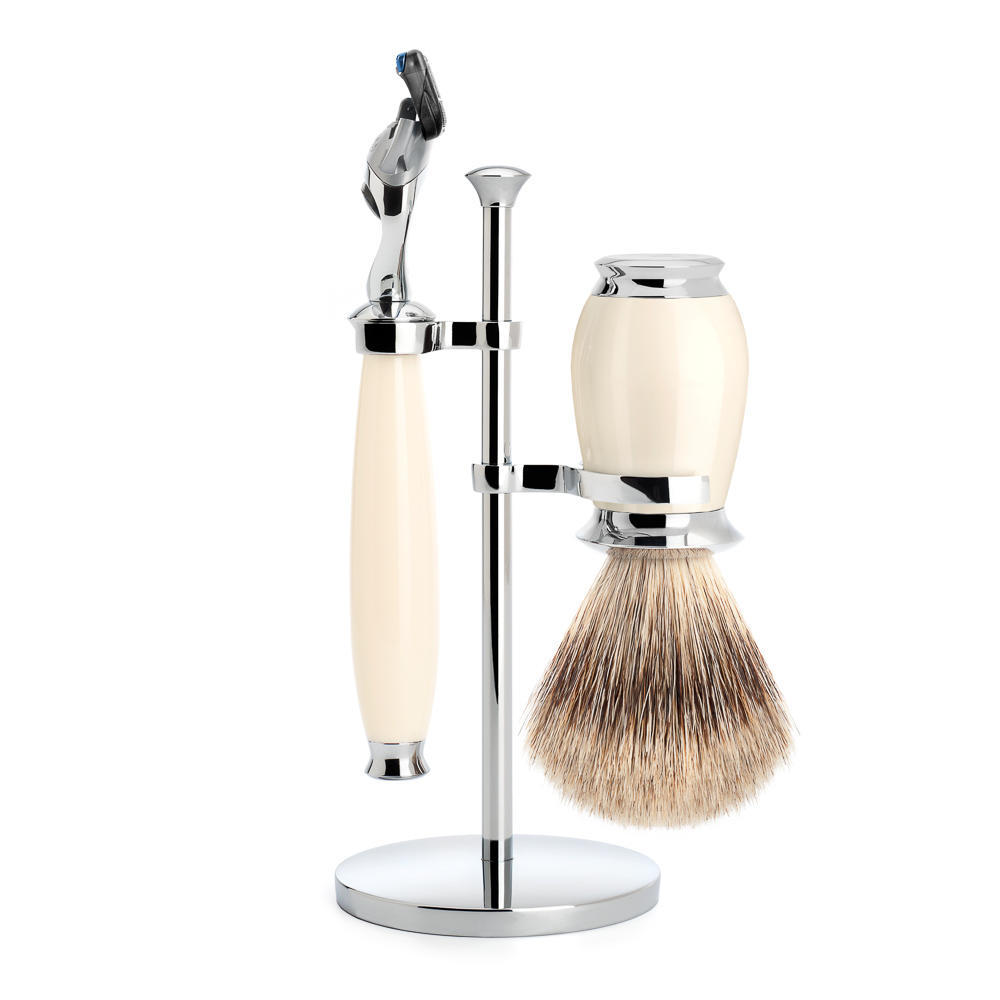 MUHLE PURIST Fine Badger Shaving Brush and Fusion Razor Shaving Set in Ivory with Stand - S281K57F