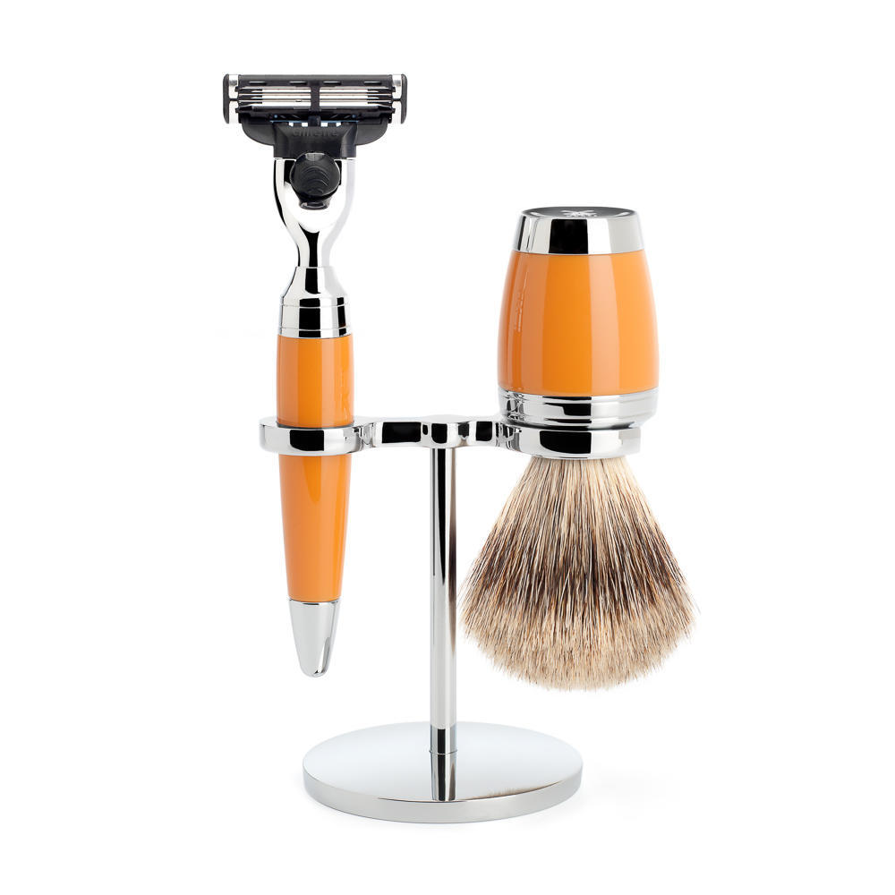 MÜHLE STYLO 3-piece shaving set in Butterscotch Incl. fine badger shaving brush and mach3 razor