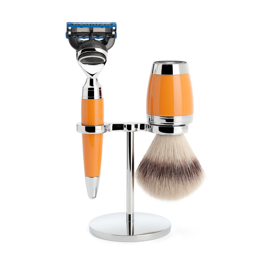 MÜHLE STYLO 3-piece shaving set in butterscotch Incl. silvertip fibre shaving brush and Fusion razor