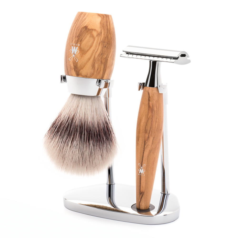 MÜHLE KOSMO 3-piece shaving set in olive wood Incl. silvertip fibre shaving brush and safety razor