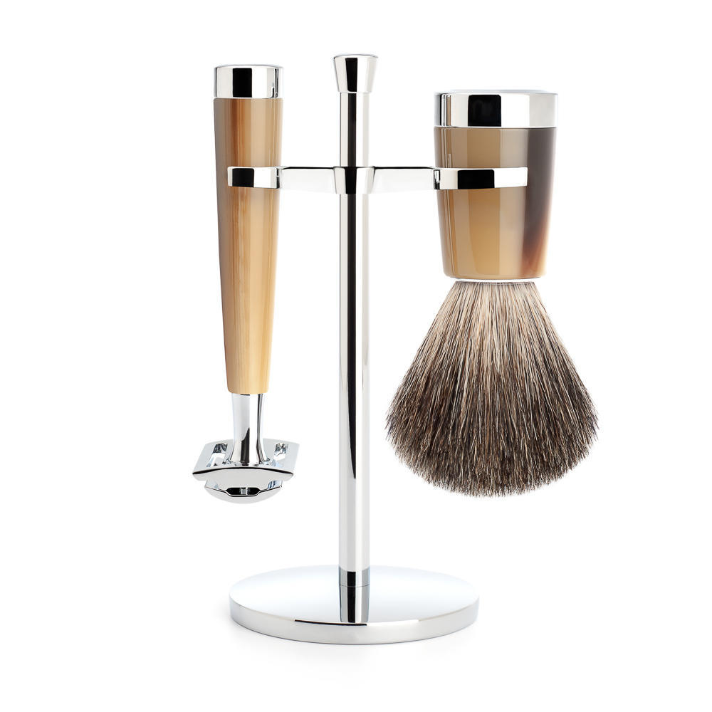 MUHLE LISCIO Brown Horn Resin 3-piece Pure Badger Brush and Safety Razor Shaving Set - S81M142SR