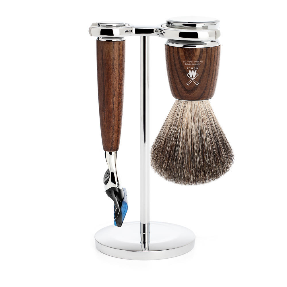 MUHLE RYTMO Steamed Ash 3-piece Pure Badger Brush and Fusion Razor Shaving Set - S81H220F