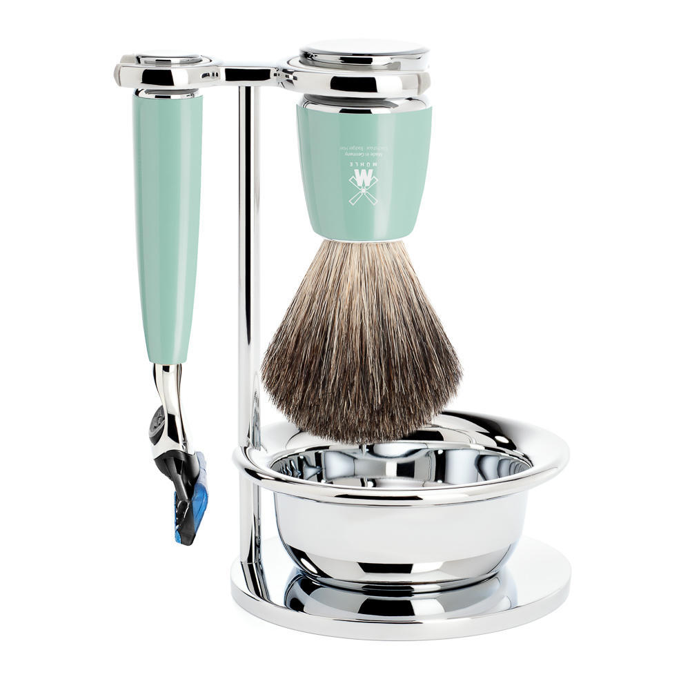 MUHLE RYTMO Mint Resin 4-piece Pure Badger Badger and Fusion Razor Shaving Set - S81M224SF