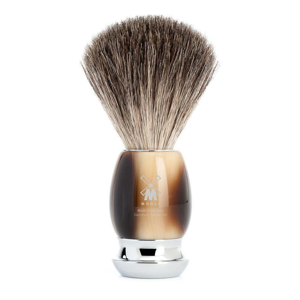 MUHLE VIVO Brown Horn Resin Pure Badger Shaving Brush - 81M332