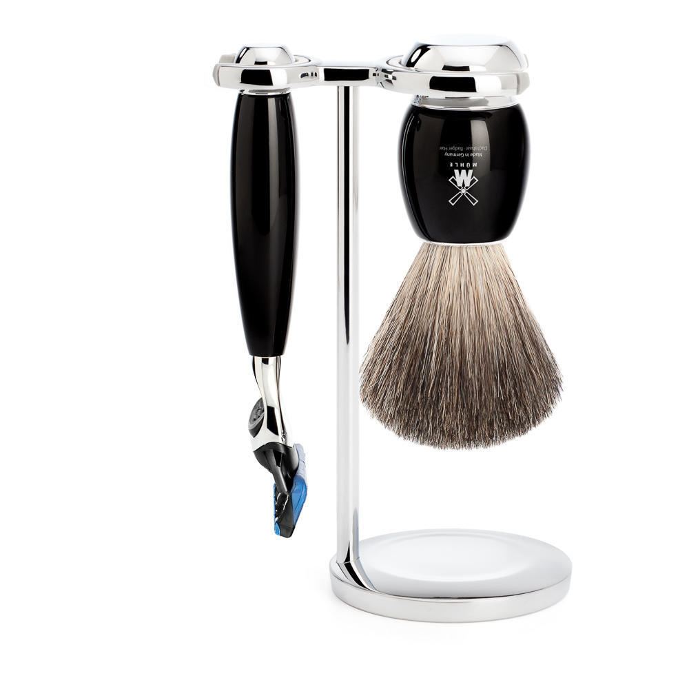 MUHLE VIVO Black 3-piece Pure Badger Brush and Fusion Razor Shaving Set - S81M336F