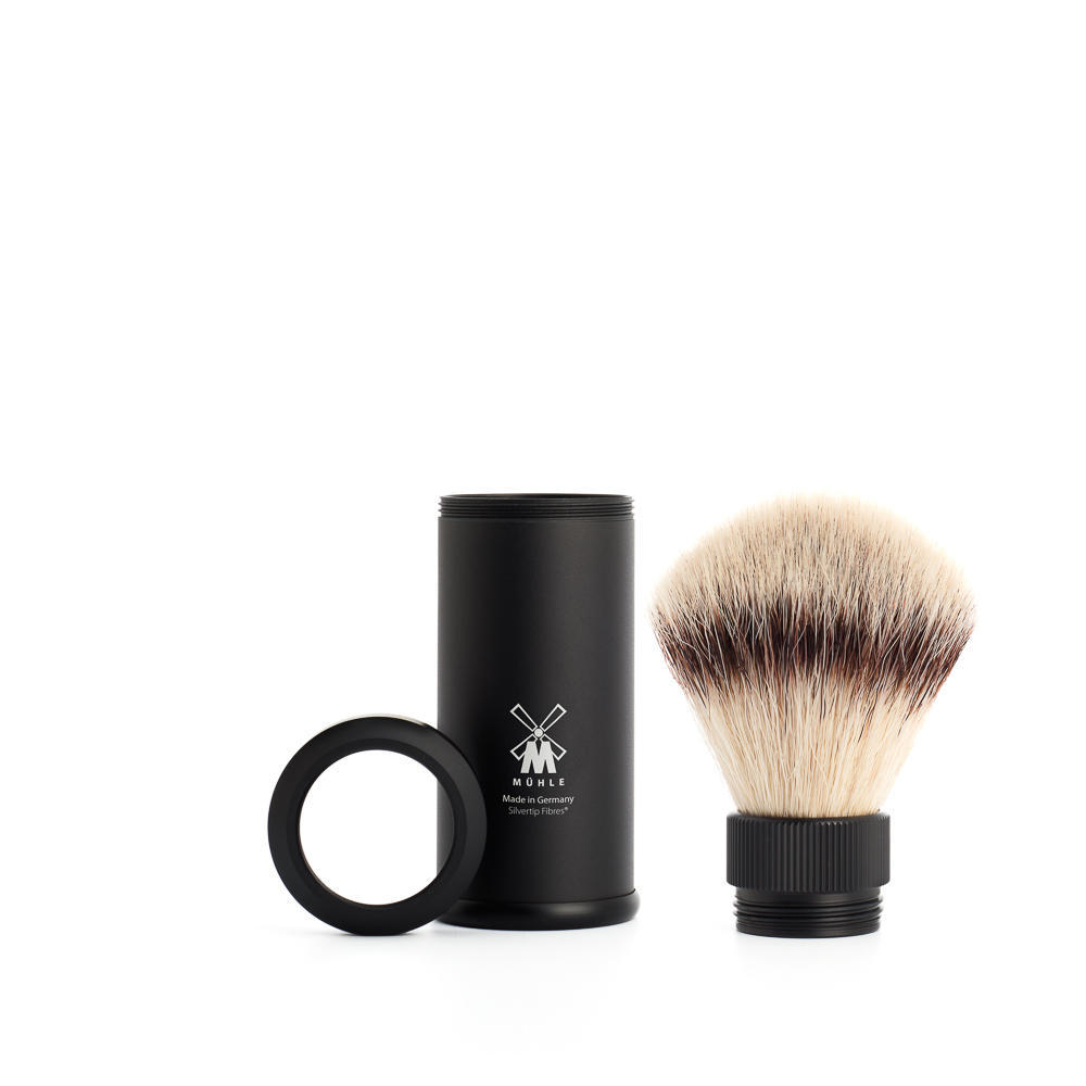MUHLE TRAVEL Black Anodized Aluminum Silvertip Fibre Travel Shaving Brush