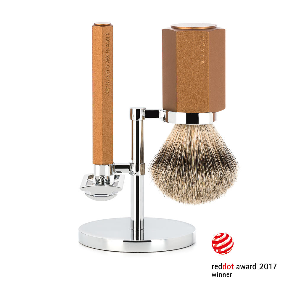 MUHLE HEXAGON Series Bronze Silvertip Badger 3-Piece Shaving Set