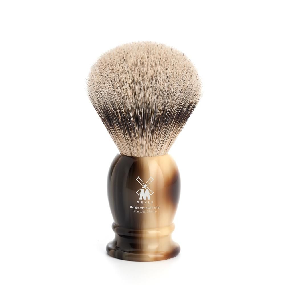 MUHLE Classic Medium Brown Horn Silvertip Badger Shaving Brush - 091K252