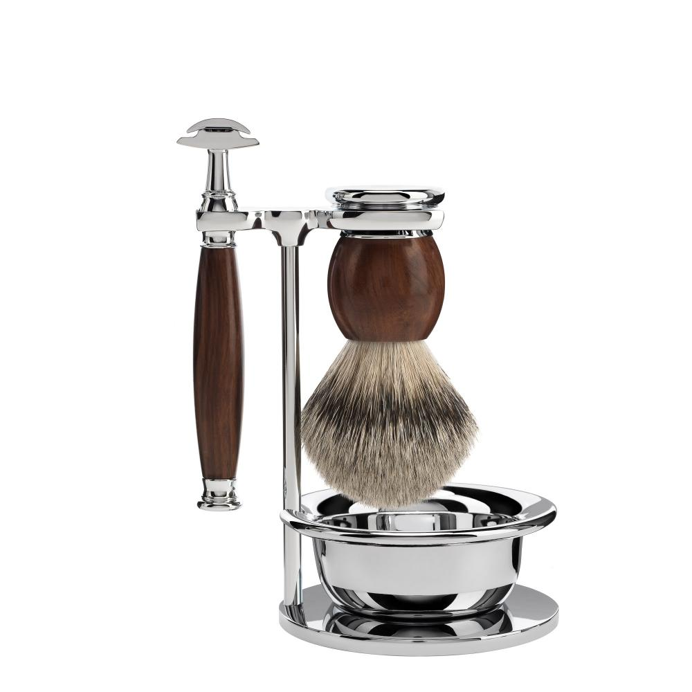 MÜHLE SOPHIST Ironwood 4-piece Silvertip Badger / Safety Razor Shaving Set