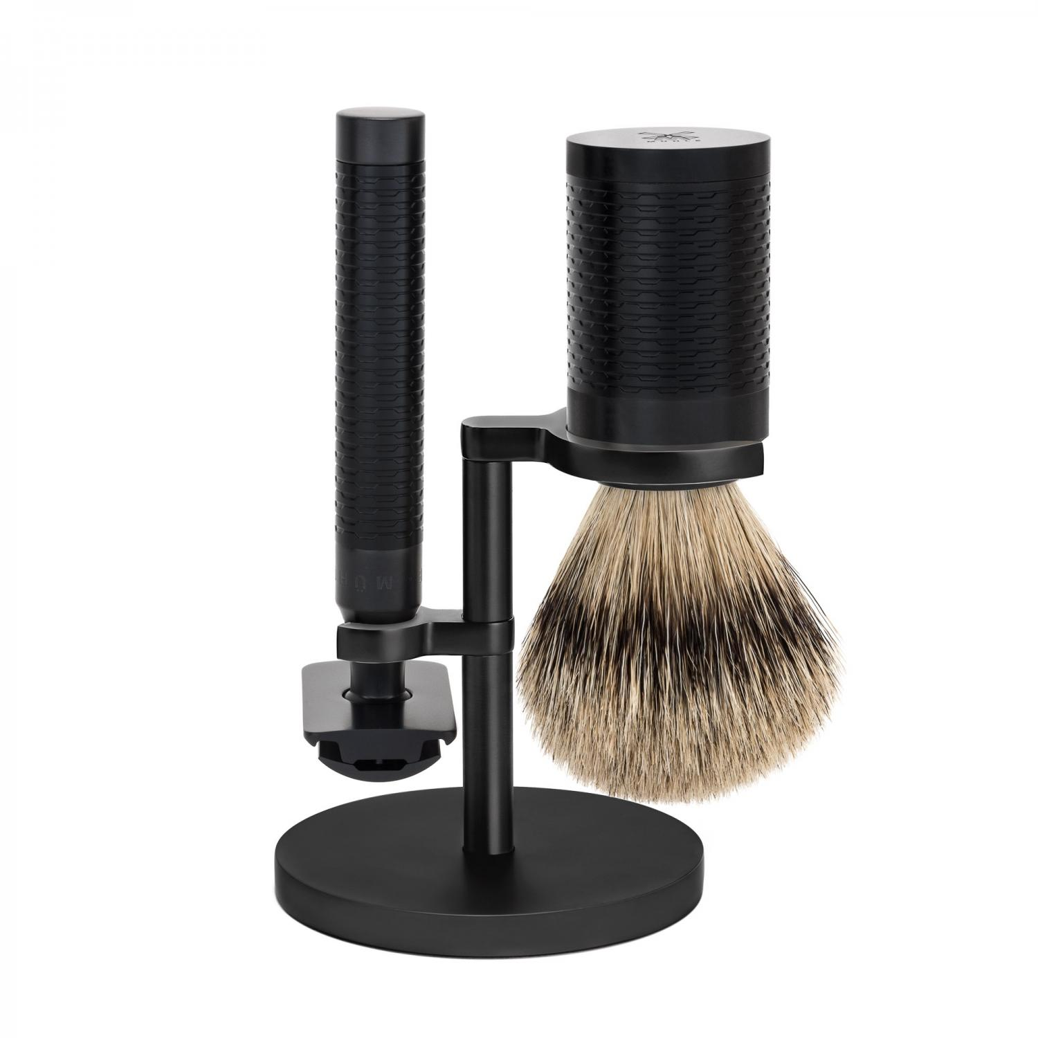ROCCA Black Stainless Steel 3-Piece Silvertip Badger/Safety Razor Shaving Set