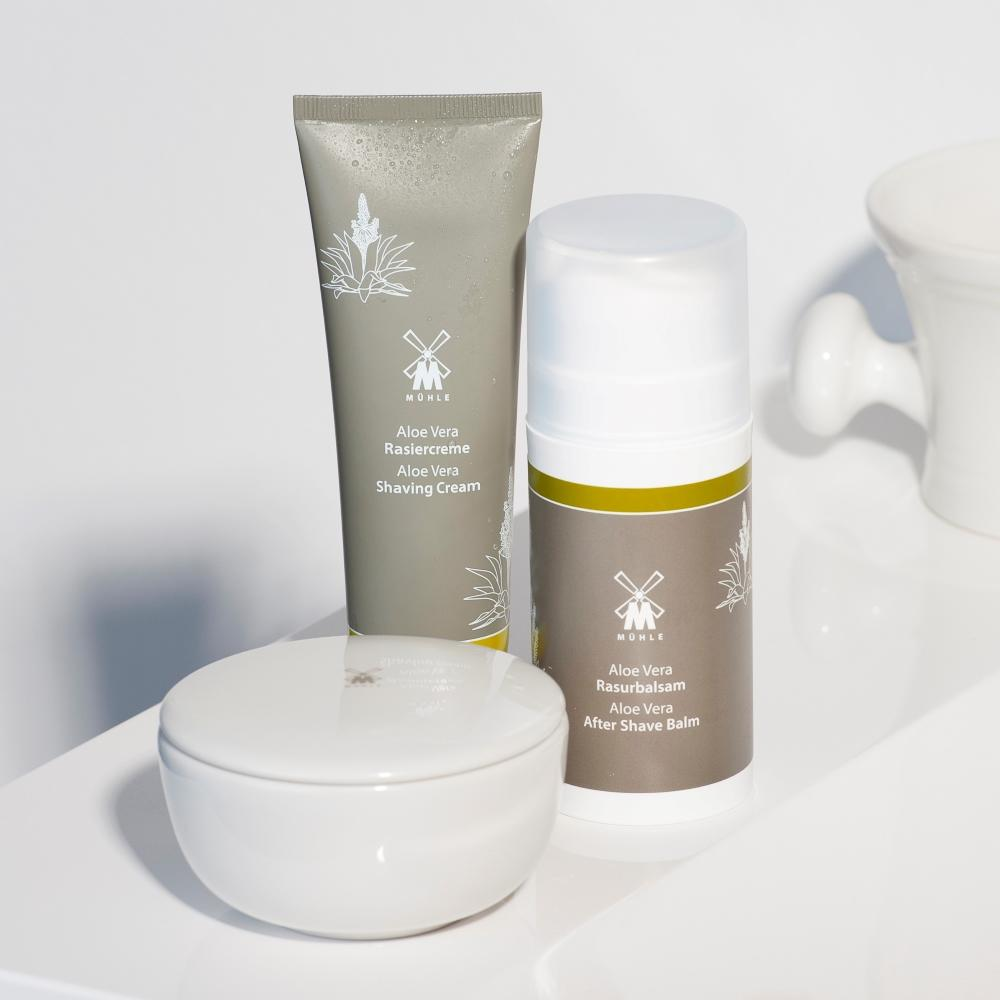 The Aloe Vera Shaving Cream, Aftershave Balm and Shaving Soap in Bowl by MÜHLE