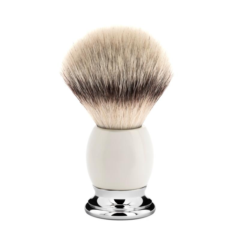 Pictured: The Sophist Porcelain Silvertip Fibre Shaving Brush by MÜHLE