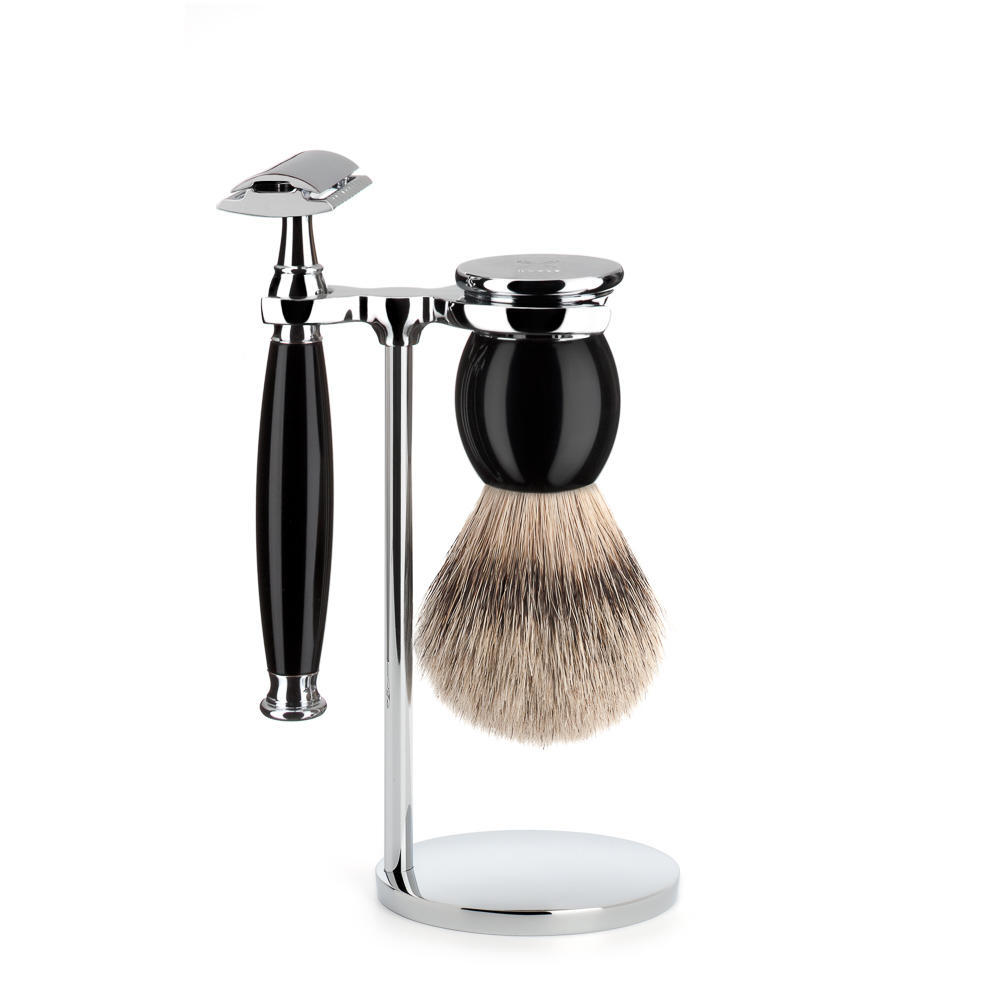 MUHLE SOPHIST Silvertip Badger and Safety Razor Shaving Set in black - S93K44SR