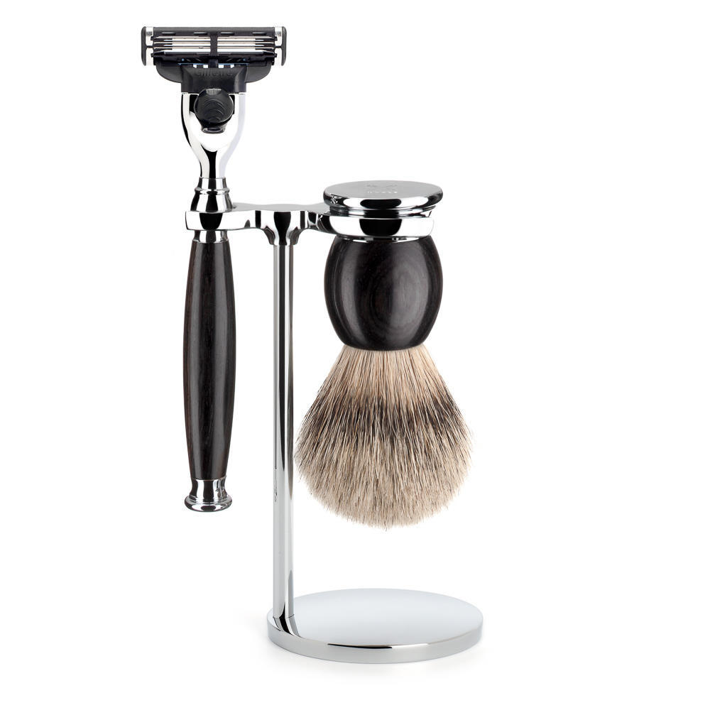 MUHLE SOPHIST Silvertip Badger Brush and Mach3 Shaving Set in Grenadille with Stand - S93H85M3