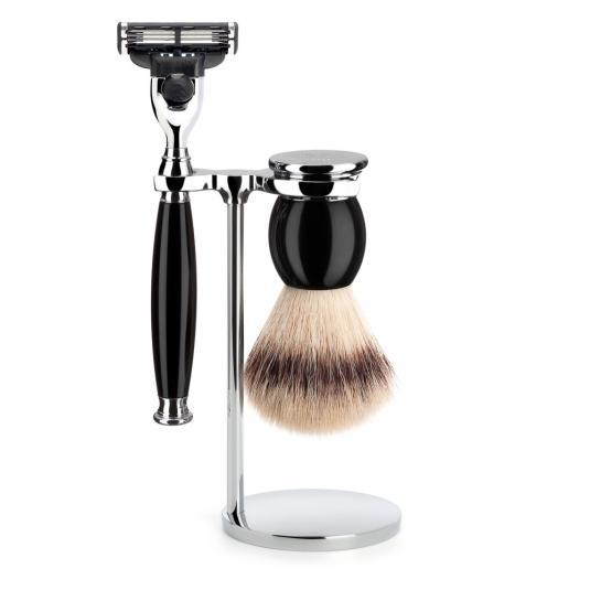 MUHLE SOPHIST Silvertip Fibre Brush and Mach3 Razor Shaving Set in Black with Stand - S33K44M3