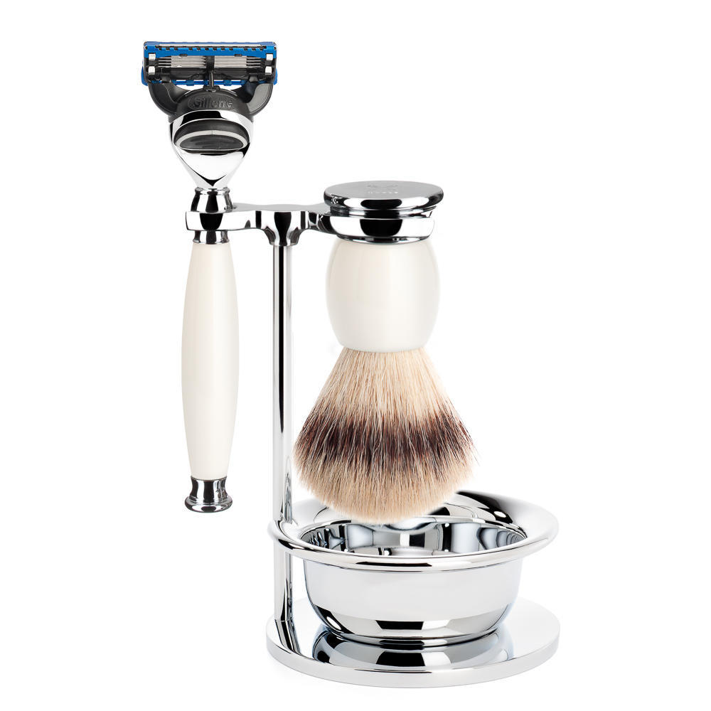 MUHLE SOPHIST Silvertip Fibre Brush and Fusion Razor Shaving Set in Porcelain with Bowl and Stand - S33P84SF