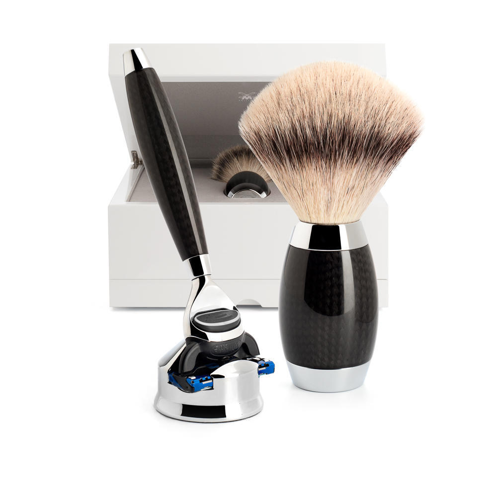 MUHLE EDITION No. 1 Carbon Fibre 3-piece Silvertip Fibre Shaving Set - S433ED1